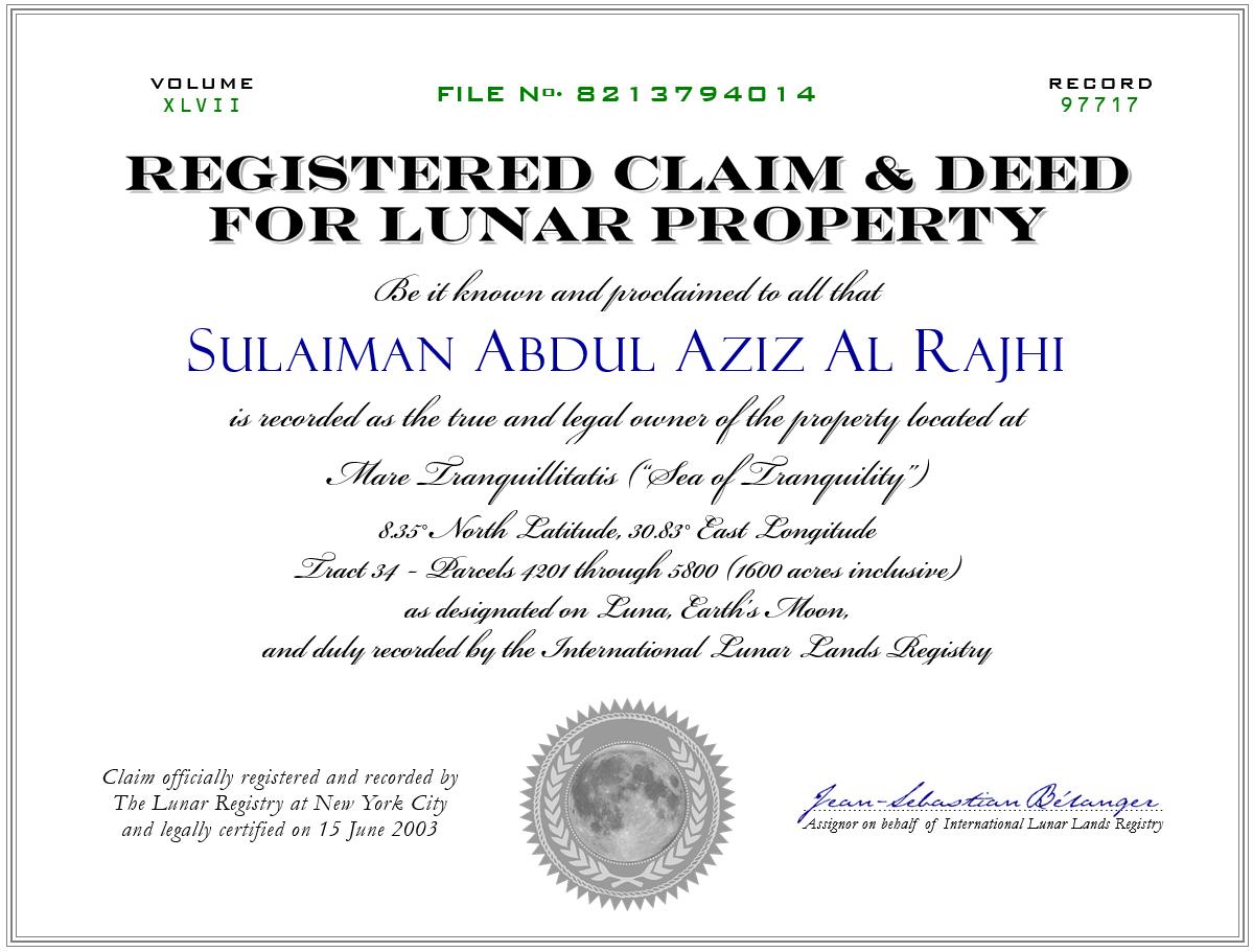 Moon Property Deed Sample (Image)