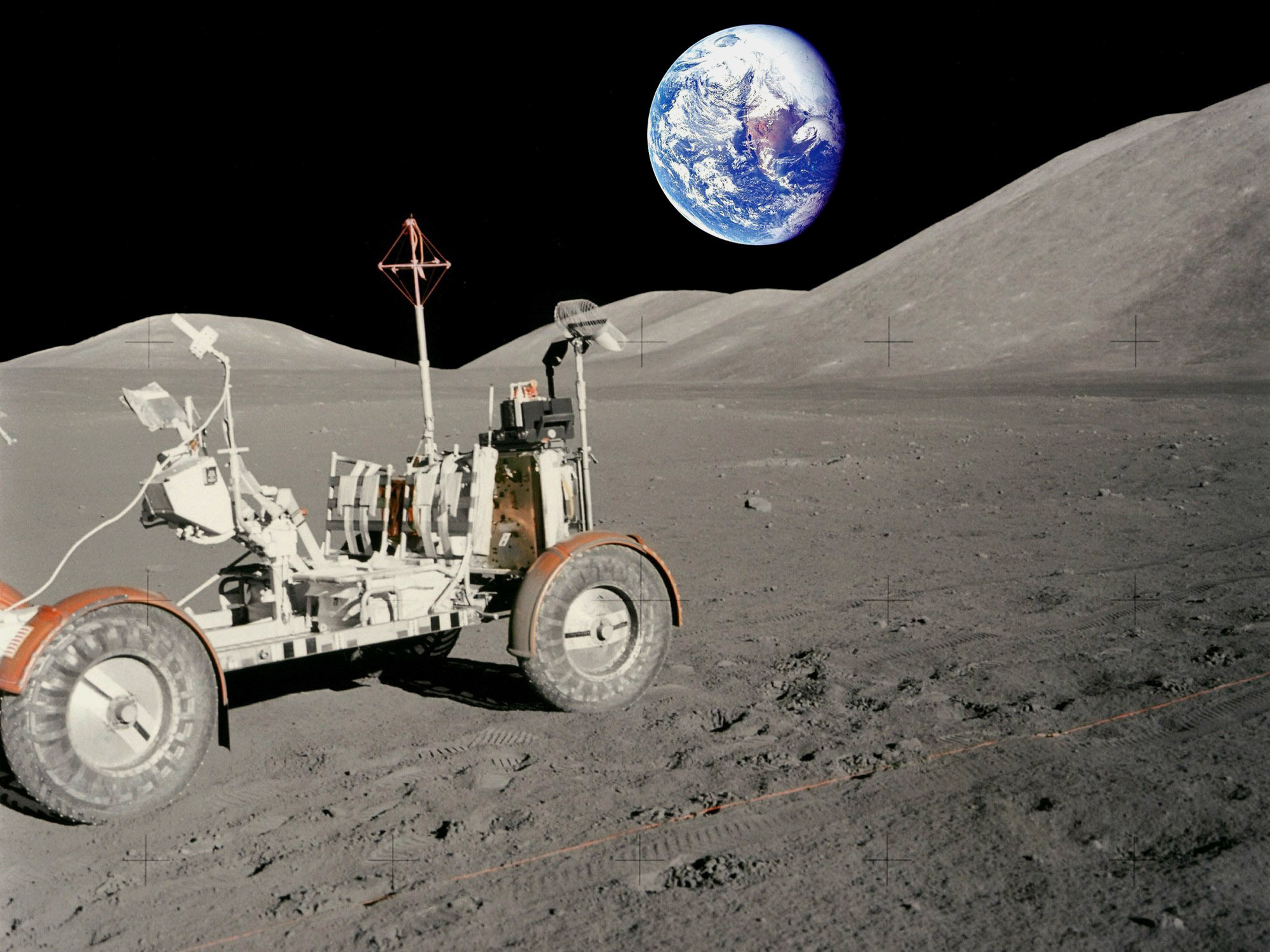 Moon Rover and Earth (Photo)