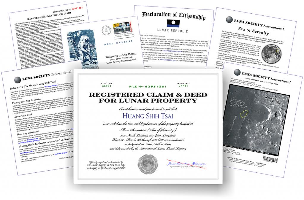 Moon Property Certificate Sample