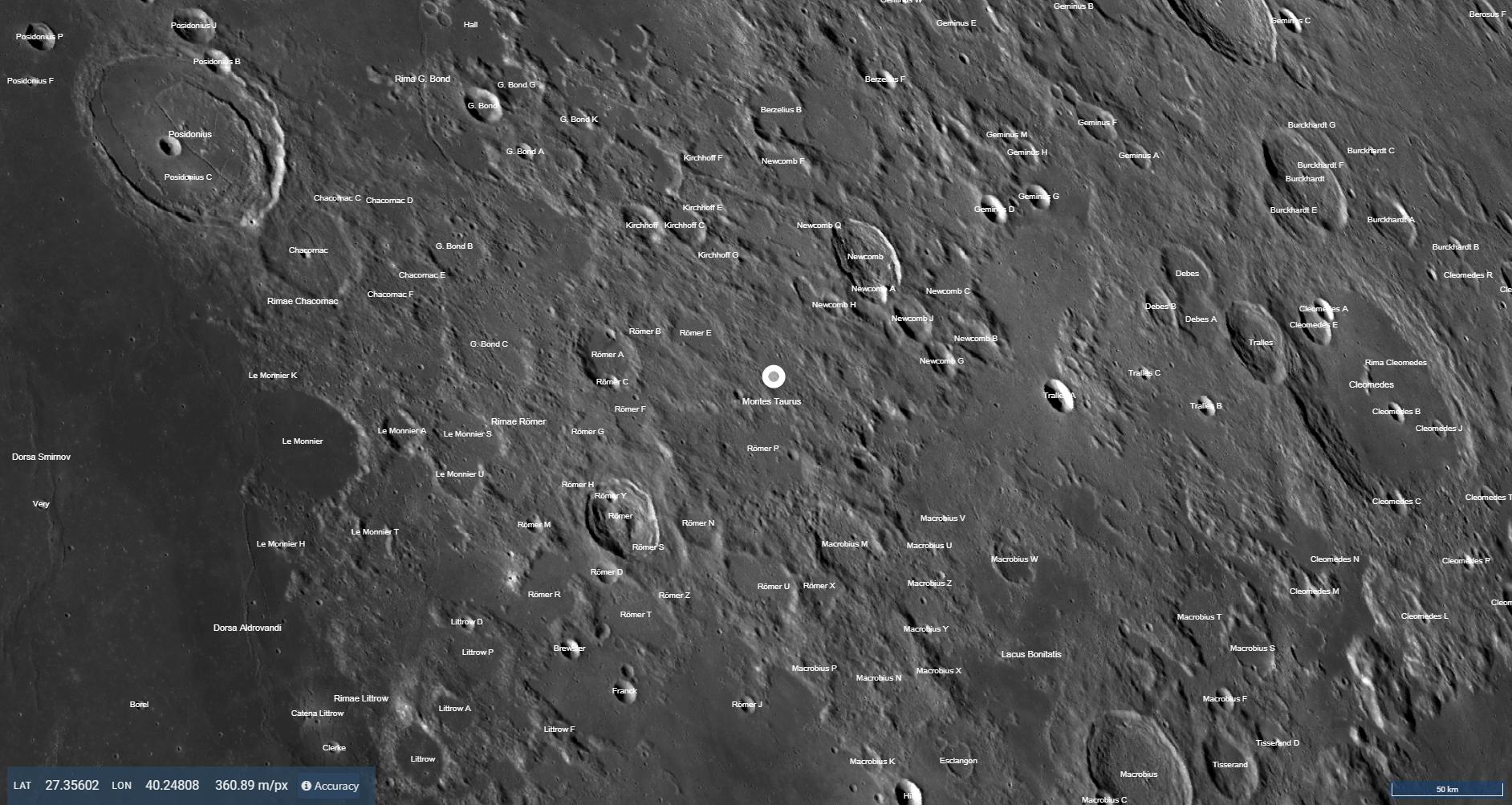 Montes Taurus (Taurus Mountains) on the Moon (Photomap)