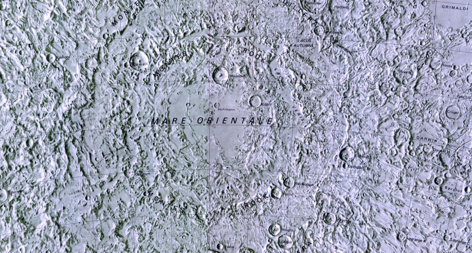 Map of the Moon's Mare Orientale (Lunar Eastern Sea)